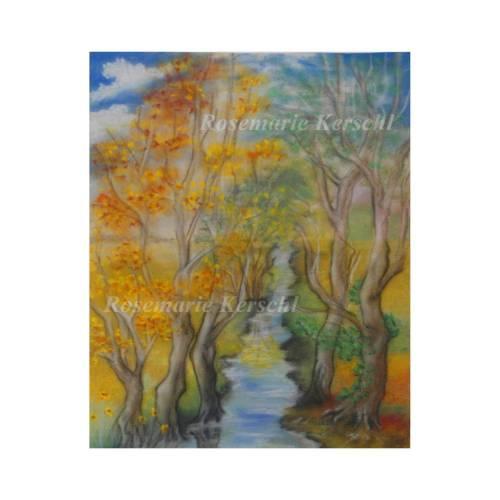 Spätsommer Pastellkreidebild handgemalte Landschaft 43 x 32 cm Hochformat