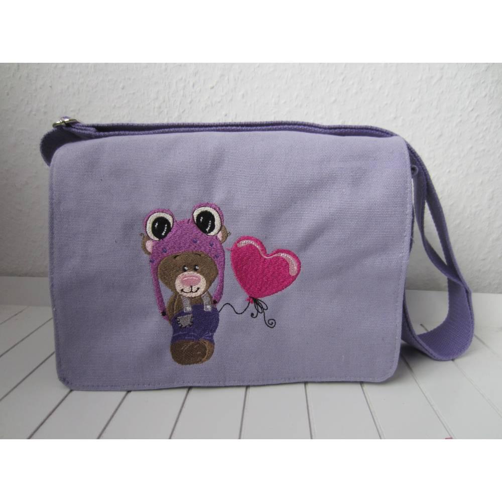 Kindergartentasche - flieder - Froschbär Bild 1