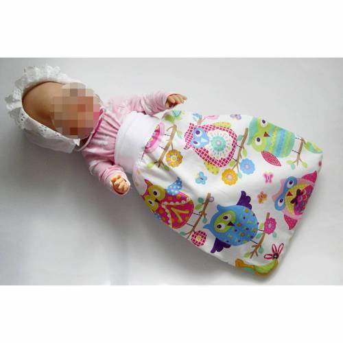 Schlafsack Frühchen, Fußsack für Babybett, Puppen-Schlafsack bunt Eulen,  Puppenfußsack, Schlafsack Sternenkinder, Babyschlafsack, Puppen-Strampelsack, Puppenschlafsack,