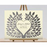 Hochzeitsgeschenk Gästebuch, Hochzeitsbaum Wedding tree Beige Bild 1