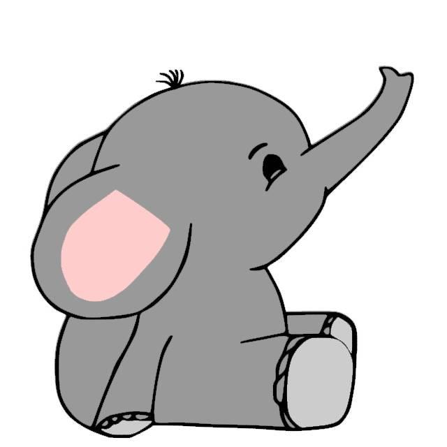 Plotterdatei Kleiner Elefant mehrfarbig Bild 1