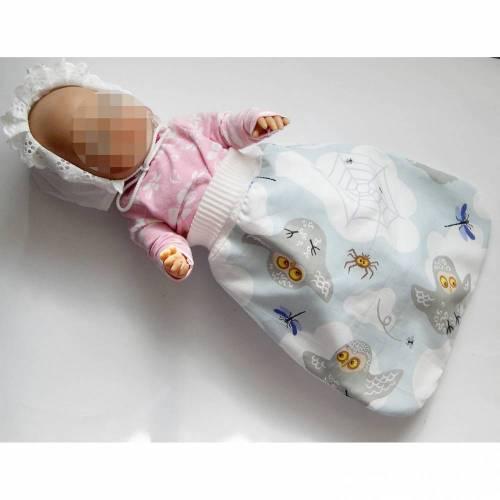 Babyschlafsack, Puppen-Strampelsack, Puppenschlafsack,  Puppenfußsack, Schlafsack Frühchen, Fußsack für Babybett, Puppen-Schlafsack bunt Eulen, Schlafsack Sternenkinder