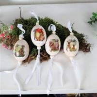 Osterdekoration Ostereier, aus Keramik, 4er Set, Stückpreis 3 Euro, nostalgisches Design Bild 1