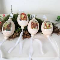 Osterdekoration Ostereier, aus Keramik, 4er Set, Stückpreis 3 Euro, nostalgisches Design Bild 2