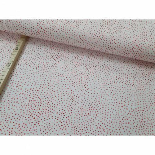 Jersey Ocean Breeze - unregelmäßige Punkte rosa/pink auf weiß - Swafing