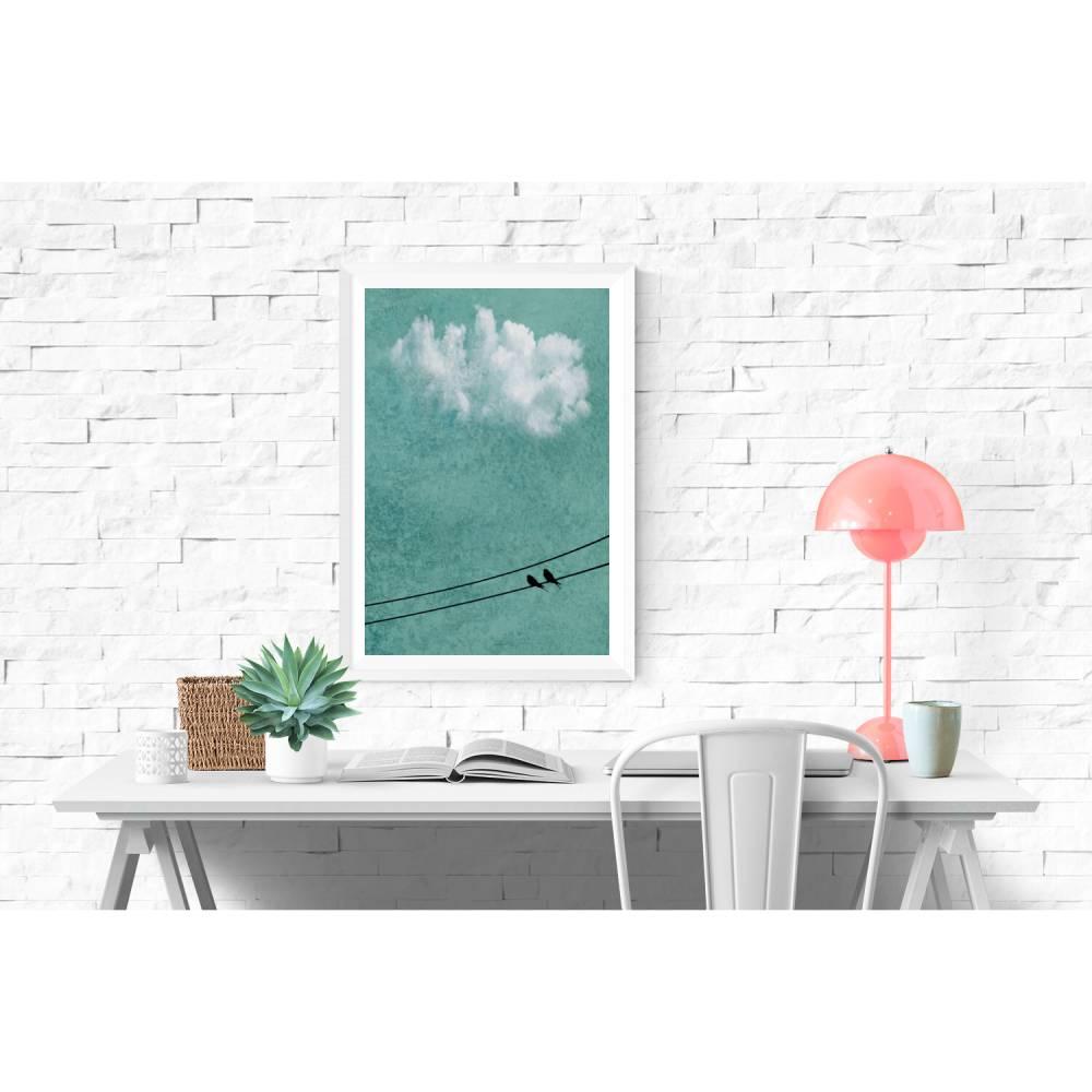 Vögel auf der Stromleitung, weiße Wolke am Himmel, Fotografie und Illustration, Poster grün, Größe 45 x 30 cm oder DIN A4 Bild 1