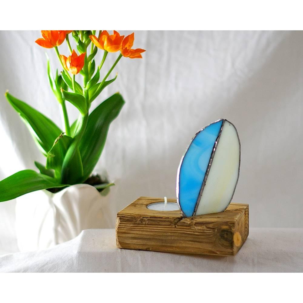 Teelichthalter, Osterdeko, Tiffany Glas, nachhaltig, Tischdeko, Holz Bild 1