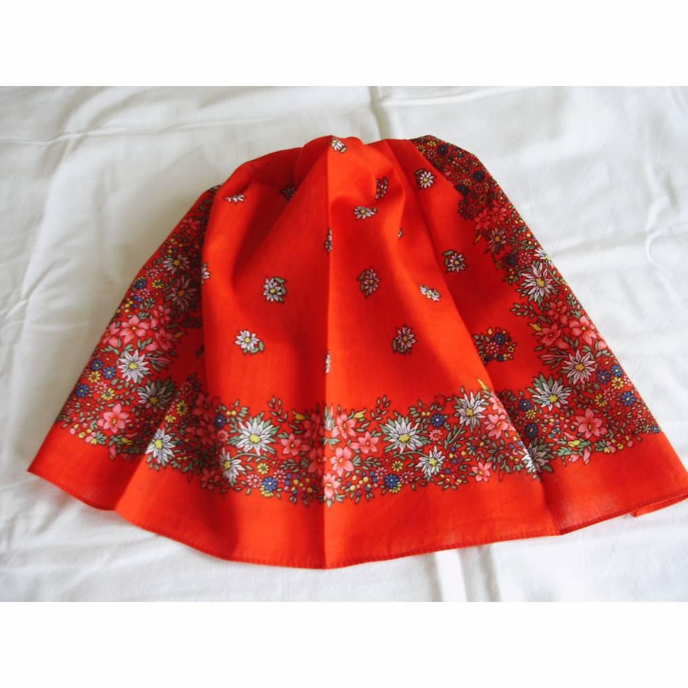 Vintage Nickituch/Halstuch in rot mit Blumen aus den 70er Jahren Bild 1