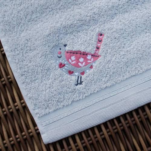 Waschlappen mit Stickerei Vogel ***personalisiert mit Namen***