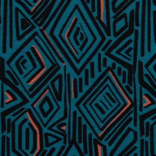 Sommersweat Stoff Sweat gemustert, Imperial Mess by Jolijou Swafing, petrol, geometrisches Muster, Meterware Sale