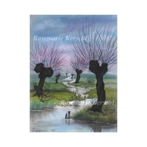 Kopfweiden am Bach Pastellkreidebild handgemalte Landschaft 30 x 25 cm Hochformat