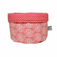 Stoffkörbchen Utensilo  rosa weiß Punkte gepunktet Ornament Punkt handmade Bild 1