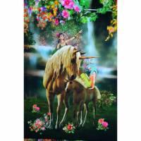 Jersey Panel Pferd Einhorn mit Elfen Stenzo Pixie Digitaldruck 120 x 150 cm Bild 1