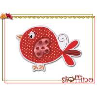 XXL Applikation großer Vogel rot karo Punkte Bild 1