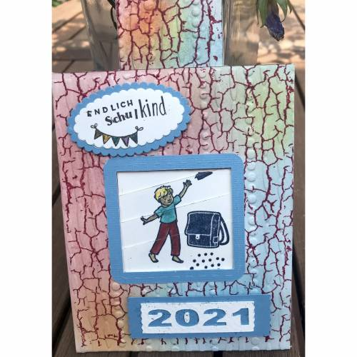 Einschulung Junge: Endlich Schulkind! Interaktive Glückwunschkarte mit Motiven von Stampin up, personalisierbar
