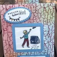 Einschulung Junge: Endlich Schulkind! Interaktive Glückwunschkarte mit Motiven von Stampin up, personalisierbar Bild 1