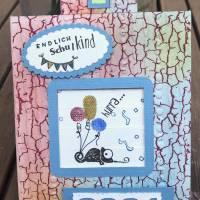Einschulung Junge: Endlich Schulkind! Interaktive Glückwunschkarte mit Motiven von Stampin up, personalisierbar Bild 2