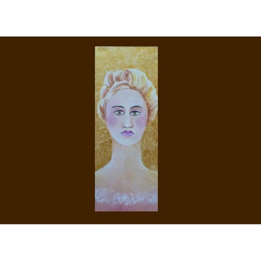 Portrait Frau Acrylgemälde Original Unikat Wandbild Keilrahmenbild Bild 1