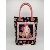 Tasche Lady Flower-Power, schwarz-pink, Blumen Bild 1