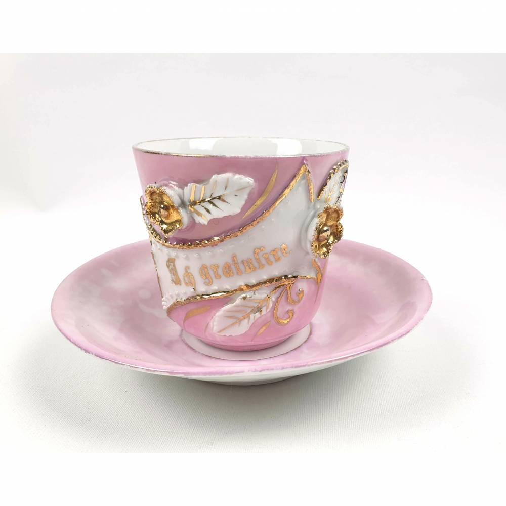 Antike Kaffeetasse mit Aufschrift Ich Gratuliere, Idee, Geschenk zum Geburtstag, Jubiläum Bild 1