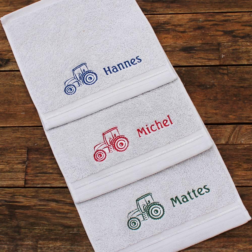 Waschlappen mit Stickerei Traktor Trecker Schlepper für Jungs ***personalisiert mit Namen*** Bild 1