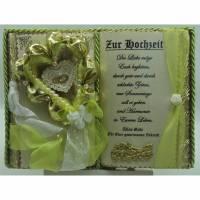 Handgefertigtes Deko-Buch zur Hochzeit (apfelgrün/beige/gold) mit Holz-Buchständer Bild 1