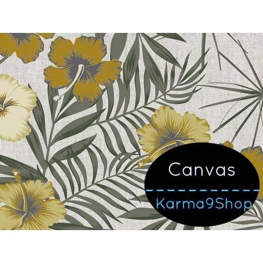 0,5m Canvas Leinenlook Tropical Flower ocker Bild 1