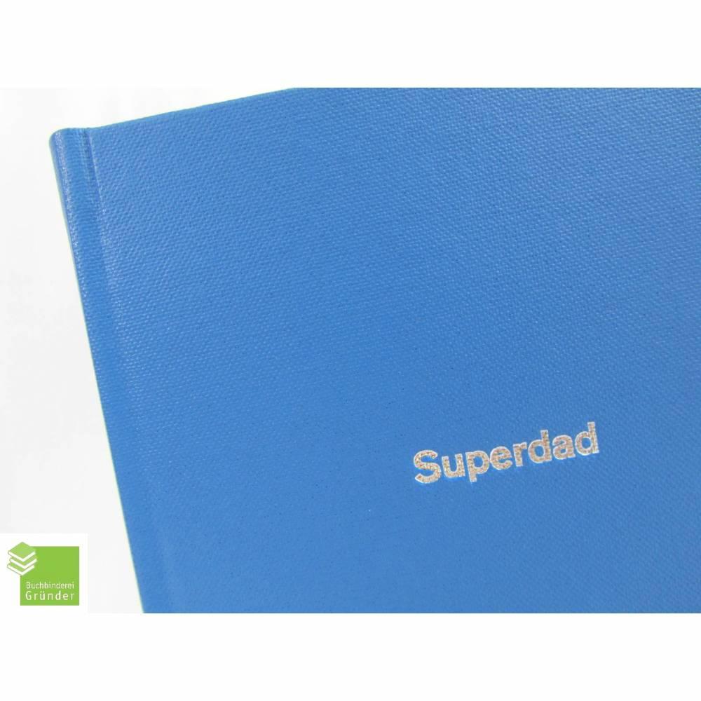 Notizbuch, Superdad, lagune-blau, silber Prägung, DIN A5, 200 Seiten Recyclingpapier Bild 1