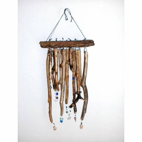 maritimes Windspiel Treibholz Mobile mit Muscheln und Perlen Klangspiel