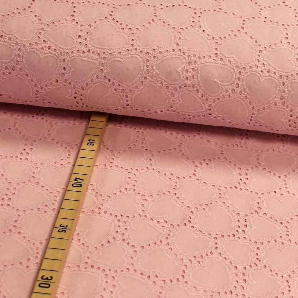 Baumwolle mit Spitze Herzen rosa Lochstickerei Bild 1
