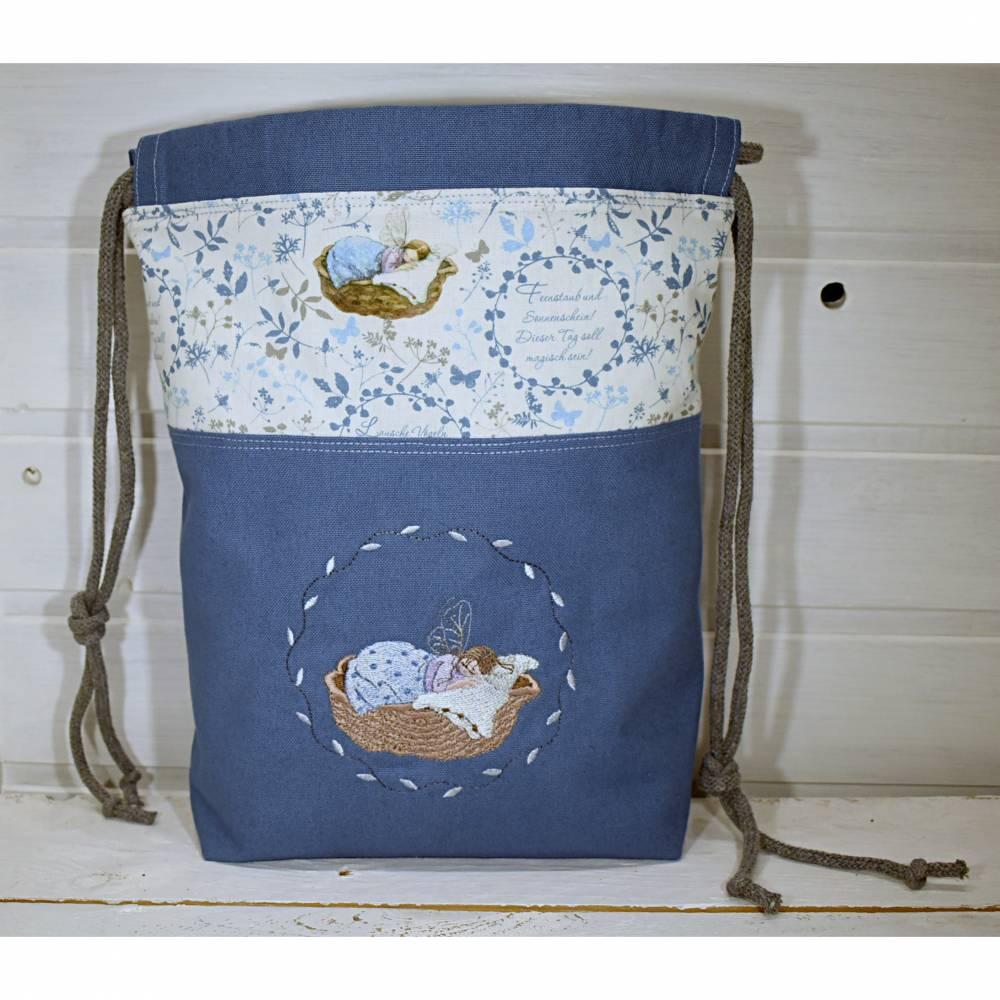 Stoffbeutel - Projekttasche - Geschenkebeutel - Aufbewahrung, Elfenmotiv, bestickt  Bild 1