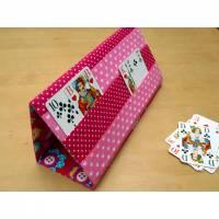 Spielkartenhalter in pink, Motiv Blumen Bild 1