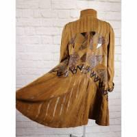 True Vintage Weit Schwingend Ledermantel Größe 42 Swinger Echt Leder Mantel Cognac Braun Maximantel Übergangsmantel Hippie Patchwork  Bild 1