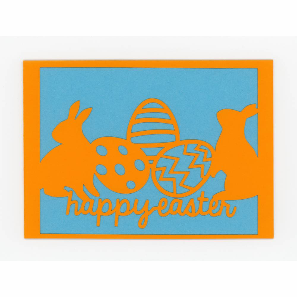 Scherenschnittkarte Happy Easter orange Bild 1