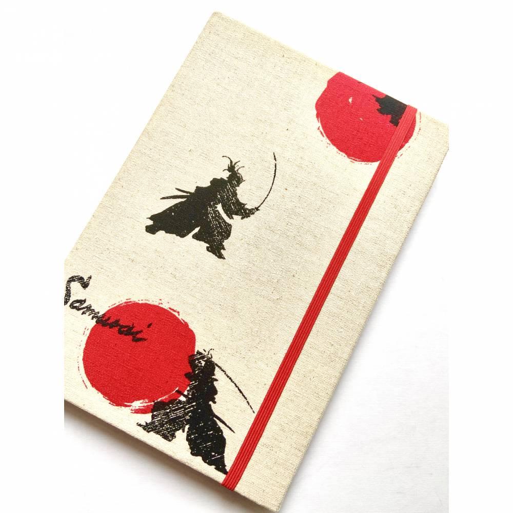 """Notizbuch Tagebuch A5 stoffbezogen """"Samurai"""" Samurai-Krieger Japan Kampfkunst Asien Fan Liebhaber Geschenk Geschenkidee Bild 1"""