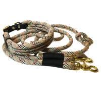 Leine Halsband Set beige rot schwarz weiß , für mittelgroße Hunde, verstellbar