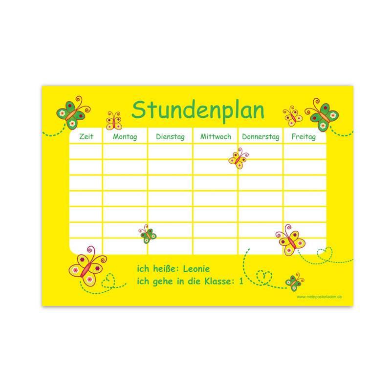 A4 Stundenplan | Schmetterlinge - gelb - personalisierbar, optional wiederbeschreibbar Bild 1