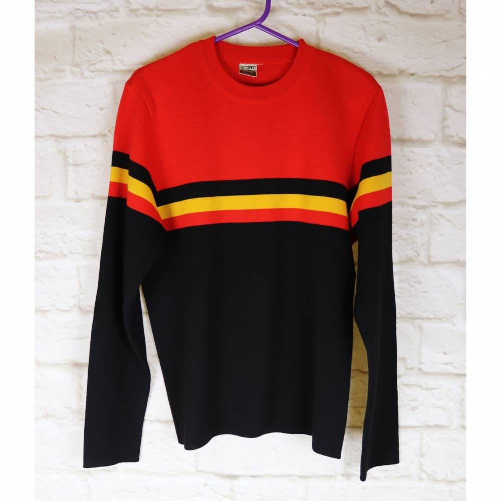 True Vintage Pullover Schoeller Today Größe 38 40 M Rot Schwarz Gelb Streifen Wolle Rundhals Strickpullover Pulli Bild 1