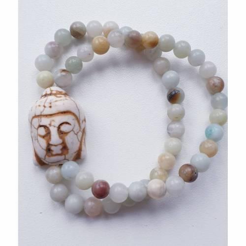 Armband Chanda mit Amazonit und Buddha-Perle