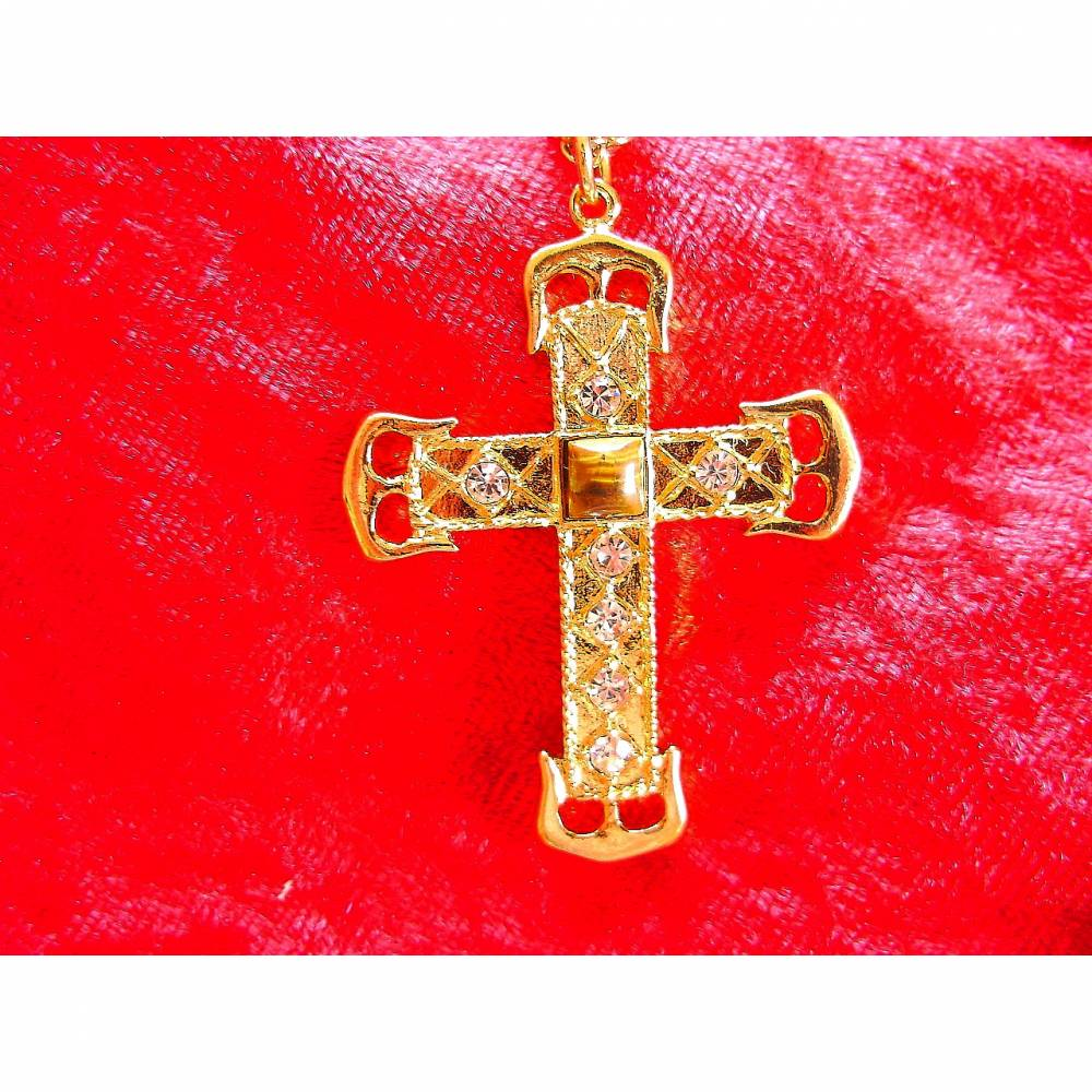 Vintage Halskette Kreuz mit Tigerauge und Strass aus den 70er Jahren Bild 1