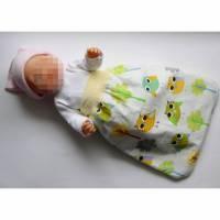 Puppen-Schlafsack bunt Eulen, Schlafsack Frühchen, Fußsack für Babybett,  Puppenfußsack, Schlafsack Sternenkinder, Babyschlafsack, Puppen-Strampelsack, Puppenschlafsack, Bild 1