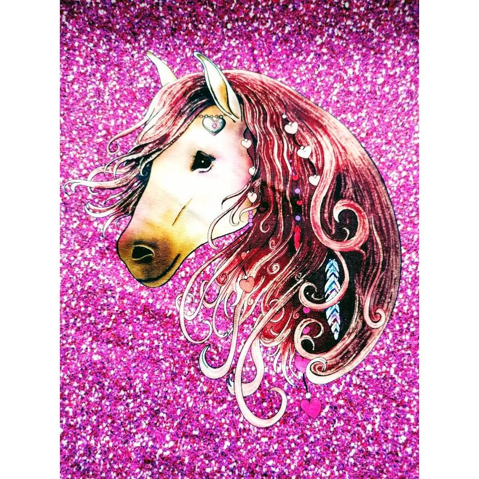 French Terry Panel Pferd/Pferdekopf Windsong Pony -beere/pink- 0,6 m Bild 1