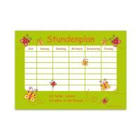 A4 Stundenplan   Schmetterlinge - grün - personalisierbar, optional wiederbeschreibbar Bild 1