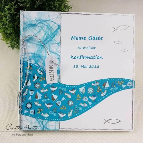 Gästebuch WELLE TÜRKIS Kommunion Taufe Konfirmation