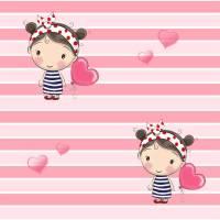 Jersey Stoff Mädchen Luftballon - rosa Streifen 0,5m Bild 1