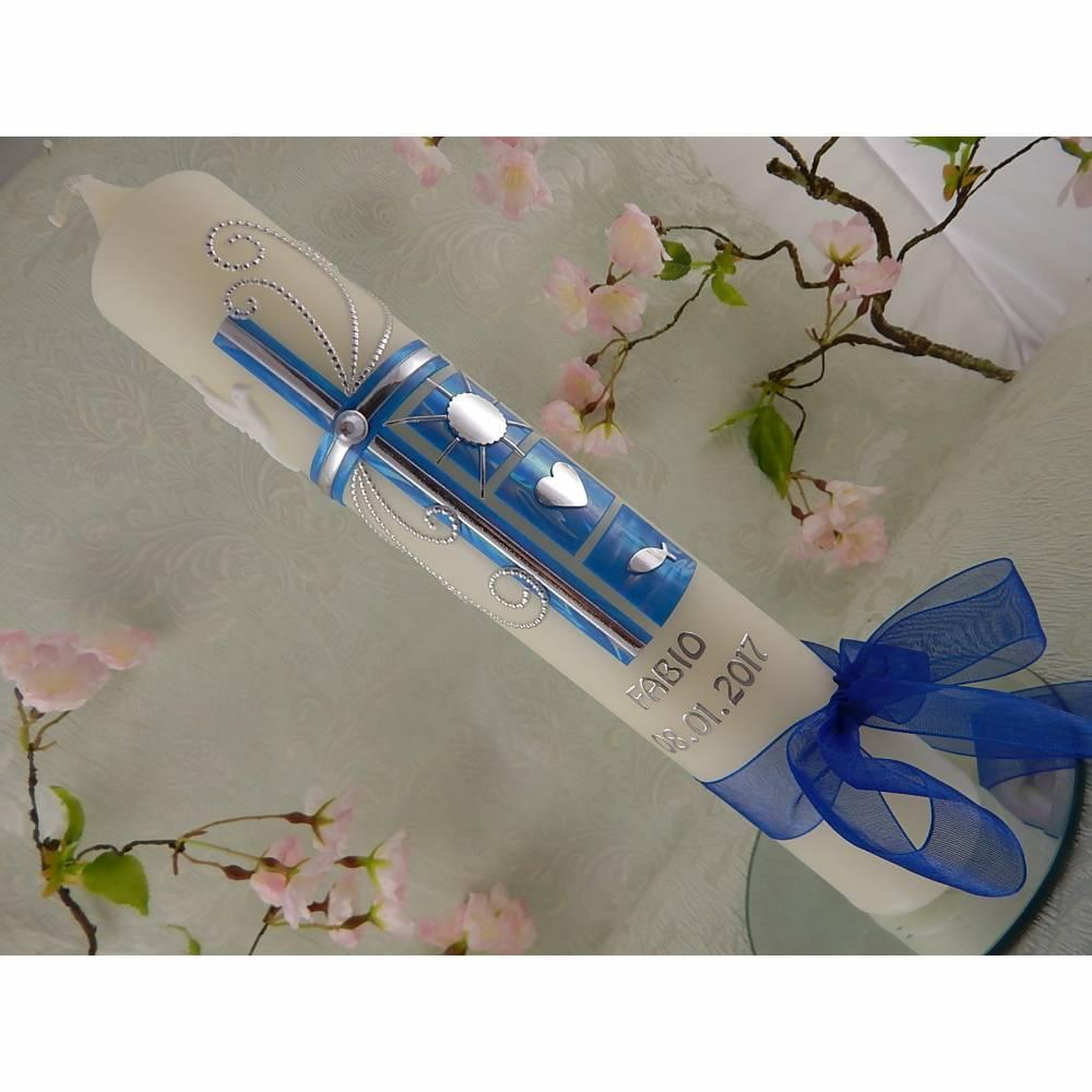 Kommunionkerze Taufkerze lang Mädchen Jungen blau silber Kreuz Taube Schleife Name Datum individualisierbar 300/50 mm oder 400/40 mm Bild 1