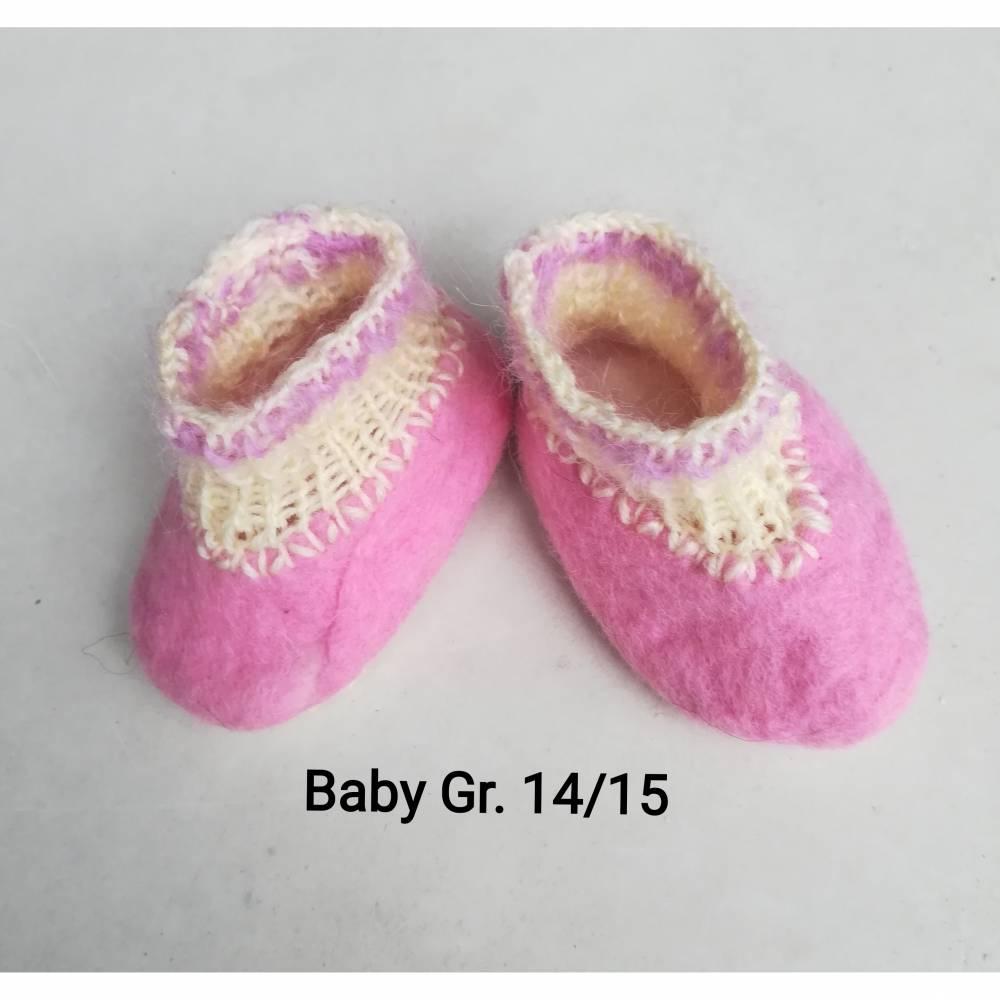 Babyschuhe rosa 100%Wolle Gr. 14/15 Bild 1