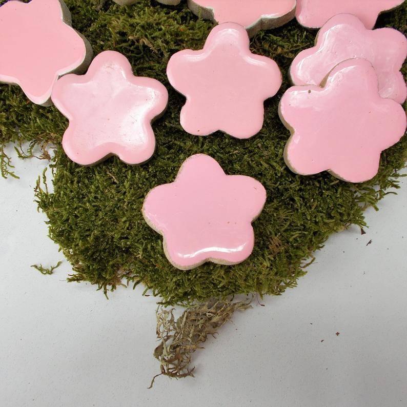 Dekomaterial, Blumen aus Holz, rosa,Blüten, Streuteile, Material, Bild 1
