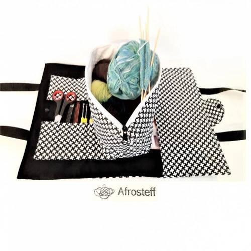 Stricktasche für Unterwegs genäht/ Handarbeitstasche,Projekttasche, Strickbeutel, Wolltasche
