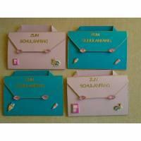 4St.Einladungskarten zur Einschulung Schulanfang Einladung ,Mädchen  ,1Schultag ,Schule, Einladungen, Rosa ,Türkis, Bild 1